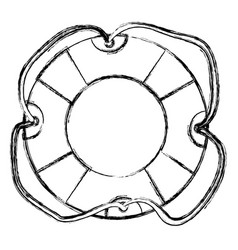 Monochrome sketch of flotation hoop with tether vector