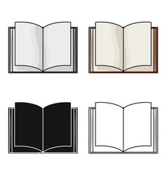 opened book icon in cartoon style isolated on vector image