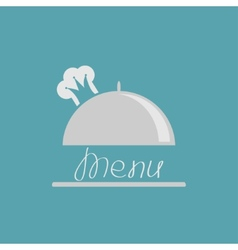 Silver platter cloche with chef hat crown menu vector