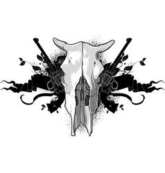 skull cow and guns vector image