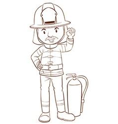 A plain sketch of a fireman vector image