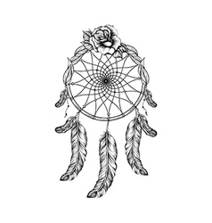 Dream catcher with feathers leafs and rose in line vector