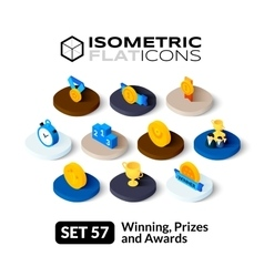 Isometric flat icons set 57 vector image