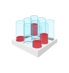 Medical test tubes with blood in holder icon vector