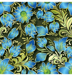 Seamless blue floral ornament on dark green vector