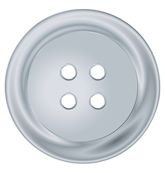 Silver round sewing button vector