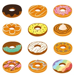 Delicious donuts collection vector