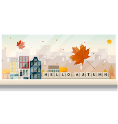Autumn cityscape background vector