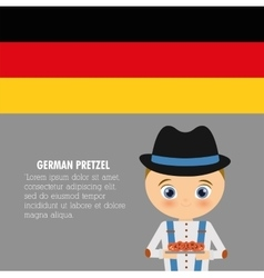 Boy cartoon hat pretzel icon Germany vector image vector image