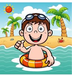 Boy swim vector image vector image