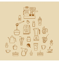 Cafe equipment outline icons design collection2 vector
