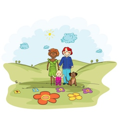 cartoon background with family vector image vector image