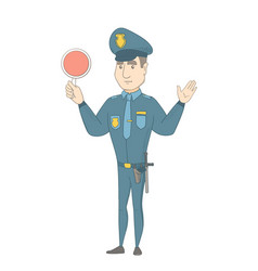 caucasian traffic policeman holding traffic sign vector image