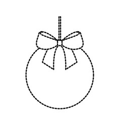 Christmas ball with bow ribbon decoration vector