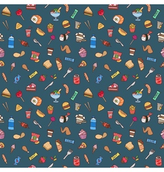 Colorful hand drawn fast food seamless pattern vector image