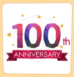 Colorful polygonal anniversary logo 2 100 vector