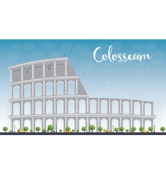 Colosseum in rome with blue sky italy vector