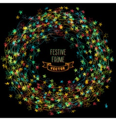 Colourful frame of Christmas lights vector image