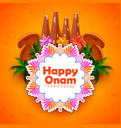 Decorated onathappan for happy onam festival of vector