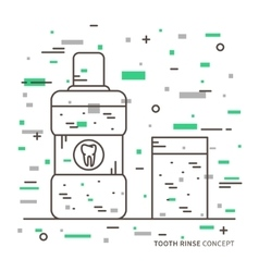 Dental tooth rinse linear vector image vector image