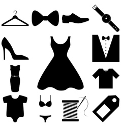 Dress and fashion signs set vector image