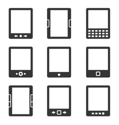 Electronic book reader icons set vector