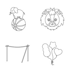 Elephant on the ball circus lion crossbeam vector