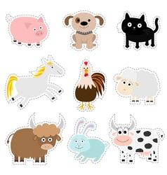 Farm animal set pig dog cat cow rabbit ship horse vector