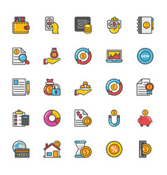 finance icons 6 vector image vector image