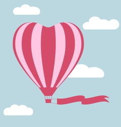 Flat hot air balloon in the shape of a heart with vector image