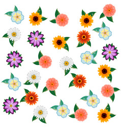 floral pattern in with flowers and leaves vector image vector image