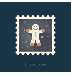 Gingerbread man christmas flat stamp vector