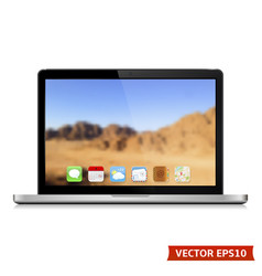 high detailed laptop with abstract blurred vector image vector image