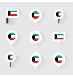 Kuwait flag and pins for infographic and map vector