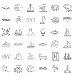 ocean icons set outline style vector image vector image