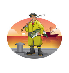Old fisherman cartoon with yellow jacket vector
