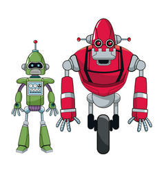 Pair robots electronic android vector