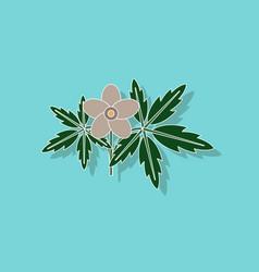 Paper sticker on stylish background flower anemone vector