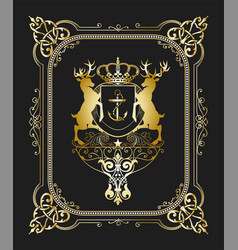 Retro card design with floral and heraldic details vector