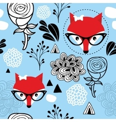 Seamless frozen pattern with winter fox and roses vector image vector image