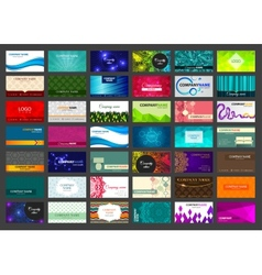 Set of 42 business cards on different topics vector image vector image