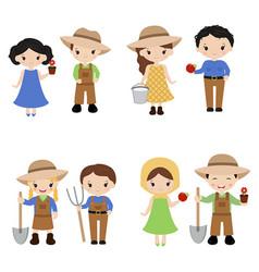 Set of farmer girls and boys set of farmer girls vector