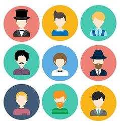 Set of Flat Icons with Man Characters vector image vector image