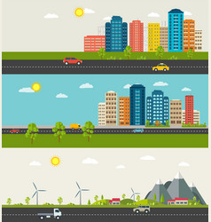 set of urban and suburban landscape vector image vector image
