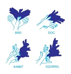 Shadow Hand Puppet Set Bird Dog Rabbit vector image vector image