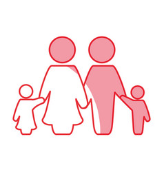 Silhouette nice family together with parents and vector