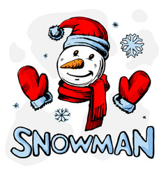 snowman colored vector image vector image