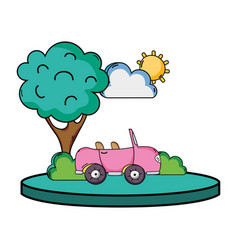sport car in the city with tree and cloud vector image