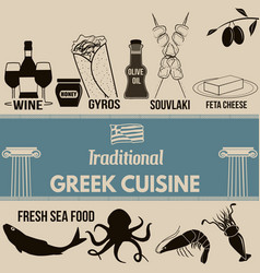Traditional greek cuisine poster vector