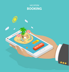 Vacation booking flat isometric low poly concept vector